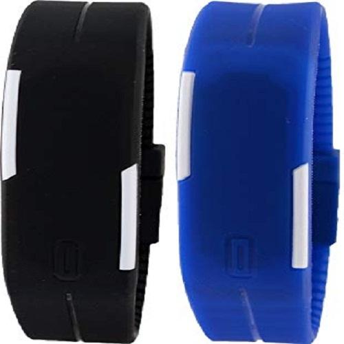 Pack Of 2 - Led Bracelet Watches For Unisex - Black & Blue 3