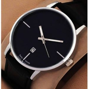 Fancy Stylish Black Leather Strap Watch With Auto Date