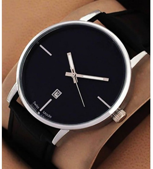Fancy Stylish Black Leather Strap Watch With Auto Date 3