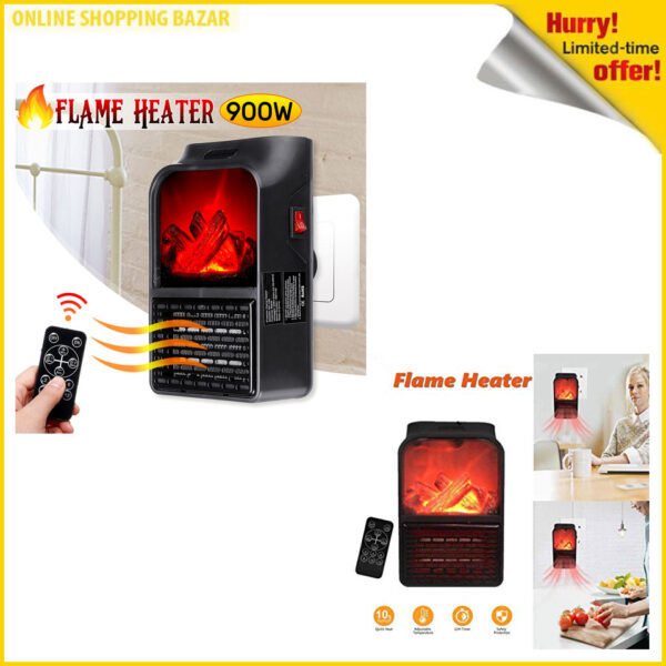 Electric Flame Heater 900 Watt With Remote 3