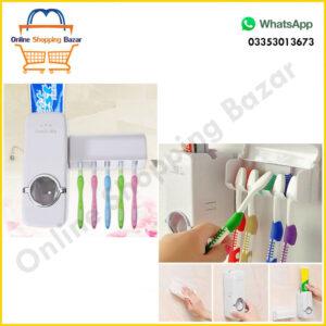 Toothpaste Dispenser + Five Toothbrush Holder