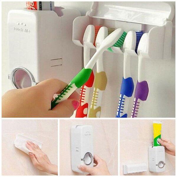 Toothpaste Dispenser + Five Toothbrush Holder 5