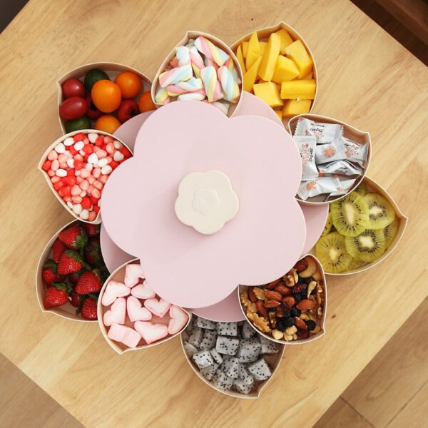 Double Layer Flower Petal-Shape Storage Box Nuts Candy Dry Fruit Snack3 4