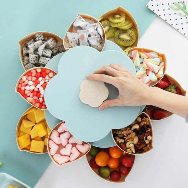 Double Layer Flower Petal-Shape Storage Box Nuts Candy Dry Fruit Snack3 5