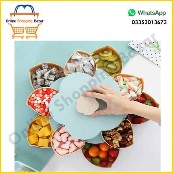 Double Layer Flower Petal-Shape Storage Box Nuts Candy Dry Fruit Snack3 3