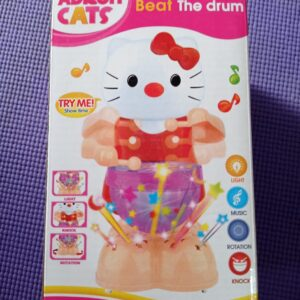 Adroit Cats Beat The Drum With Music Light And Rotation